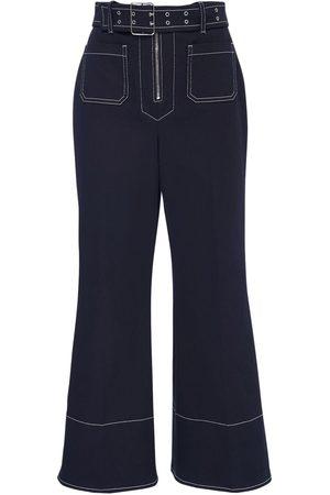Miu Miu Naiset Leveälahkeiset - Crop Cotton Drill Wide Leg Pants W/ Belt