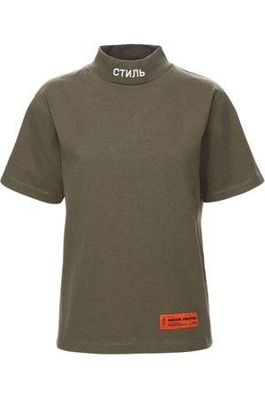 HERON PRESTON Naiset T-paidat - Mock Collar Cotton Jersey T-shirt