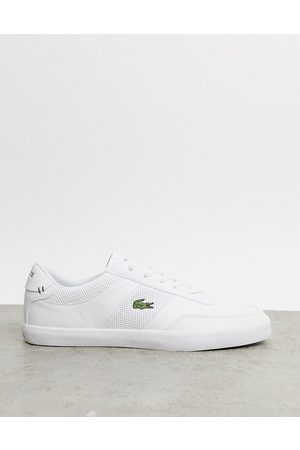 Lacoste Court master perf stripe trainers in white leather