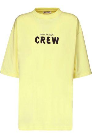 Balenciaga Over Crew Print Cotton Jersey T-shirt