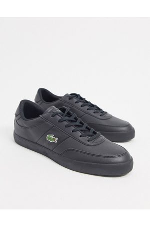 Lacoste Court master perf stripe trainers in black