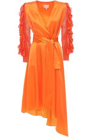 Liya Wrap Silk Dress W/ Ruffled Knit Sleeves