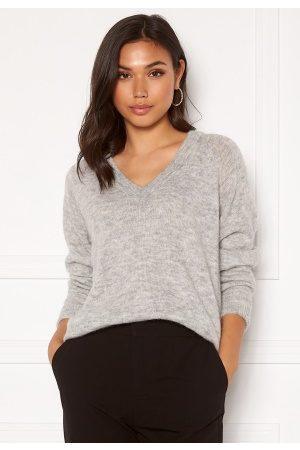 Selected Lulu LS Knit V-Neck Light Grey Melange L