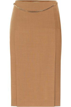 Victoria Beckham Belted virgin wool pencil skirt