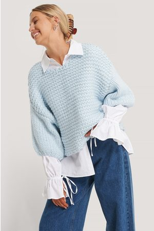 NA-KD Heavy Knitted Short Sleeve Sweater - Blue