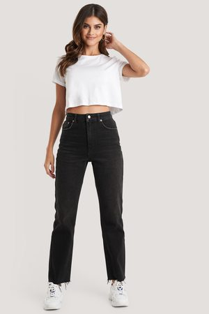 NA-KD High Waist Raw Hem Straight Jeans - Black