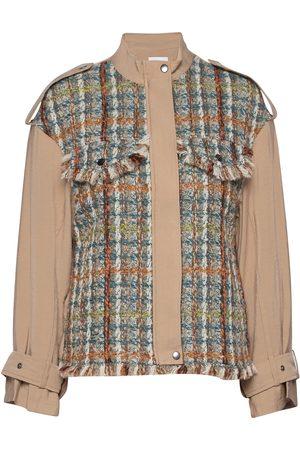 Coster Copenhagen Naiset Villakangastakit - Jacket In Mix Canvas And Boucle Villakangastakki Ruskea