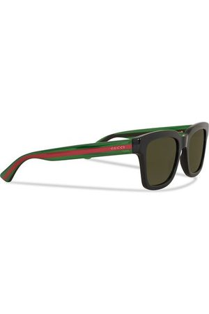Gucci Miehet Aurinkolasit - GG0001S Sunglasses Black/Green