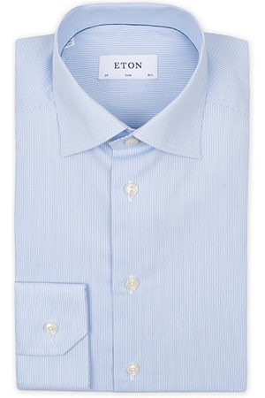 Eton Slim Fit Poplin Thin Stripe Shirt Blue/White