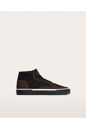 Zara COMBINED LEATHER HIGH TOP SNEAKERS