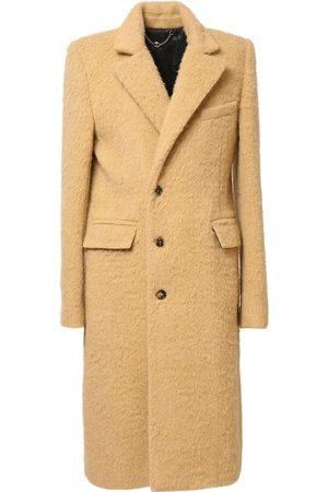 Paco rabanne Single Breast Brushed Wool Blend Coat