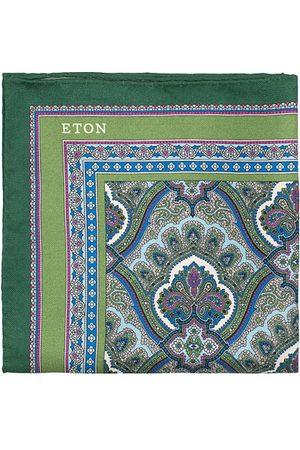 Eton Miehet Taskuliinat - Silk Paisley Print Pocket Square Green