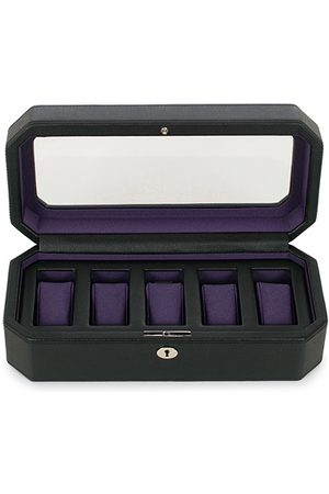 Wolf Miehet Kellot - Windsor 5 Piece Watch Box Black Purple