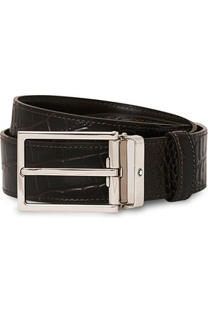 Mont Blanc Square Buckle Alligator Printed 35mm Leather Belt Brown