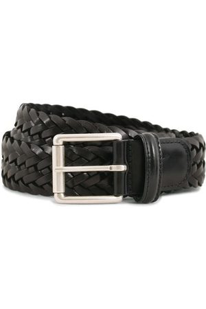Anderson's Miehet Vyöt - Woven Leather 3,5 cm Belt Tanned Black