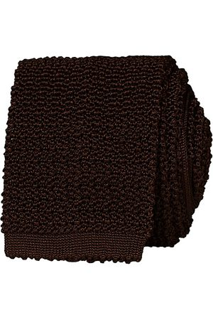 Drake's Miehet Neuleet - Knitted Silk 6.5 cm Tie Brown
