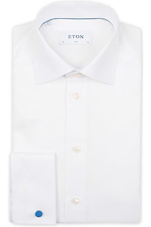 Eton Slim Fit Twill Double Cuff Shirt White