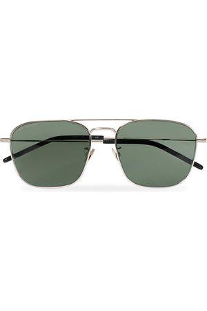 Saint Laurent SL 309 Sunglasses Silver/Green