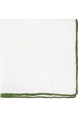 Amanda Christensen Linen Paspoal Pocket Square White/Green