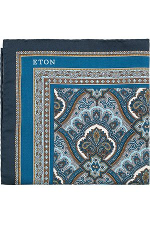 Eton Silk Paisley Print Pocket Square Blue