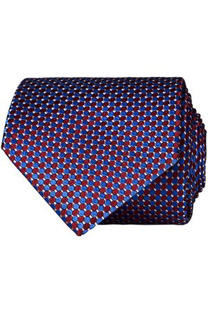 Eton Miehet Solmiot - Silk Geometric Weave Tie Blue/Red