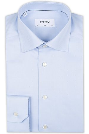 Eton Slim Fit Textured Twill Shirt Blue
