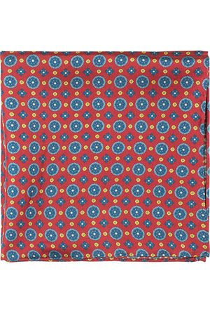 Amanda Christensen Medallion Silk Pocket Square Wine Red