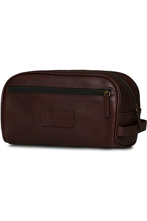 Barbour Lifestyle Leather Wash Bag Dark Brown
