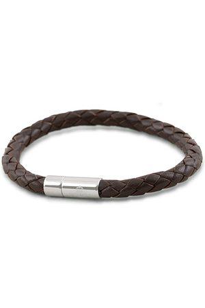 Skultuna One Row Leather Bracelet Dark Brown Steel