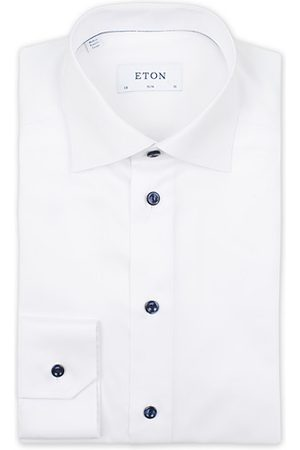 Eton Miehet Bisnes - Slim Fit Signature Twill Shirt White