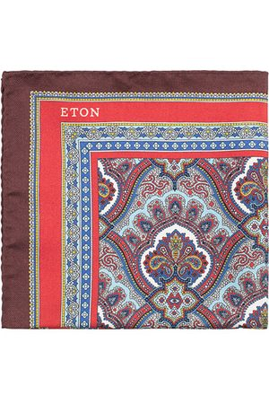 Eton Silk Paisley Print Pocket Square Red