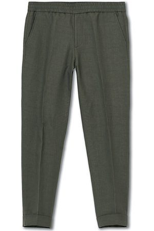 Filippa K Terry Cropped Linen Slacks Green Grey