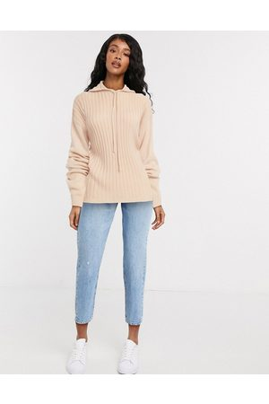 In The Style X Lorna Luxe lullaby ribbed hoody co ord in blush-Pink
