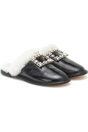 Roger Vivier Hotel Vivier shearling-trimmed leather slippers