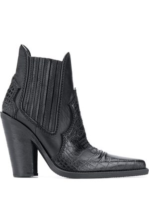Dsquared2 Naiset Nilkkurit - Croc embossed panelled ankle boots