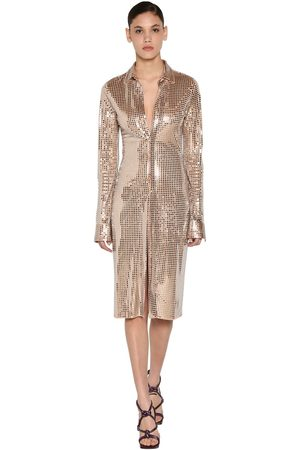 Bottega Veneta Mirror Embellished Jersey Midi Dress