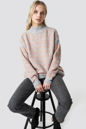 Trendyol Polo Neck Striped Sweater - Pink,Multicolor
