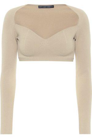 Zeynep Arcay Naiset Hihattomat - Stretch-knit crop top