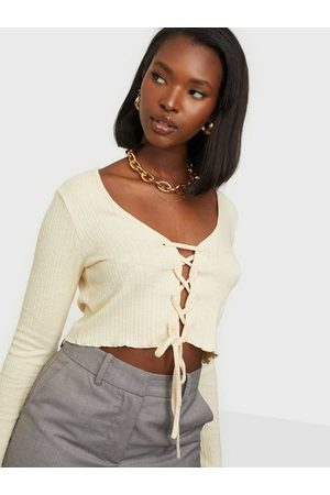 NLY Trend Lace Up Cardigan Creme