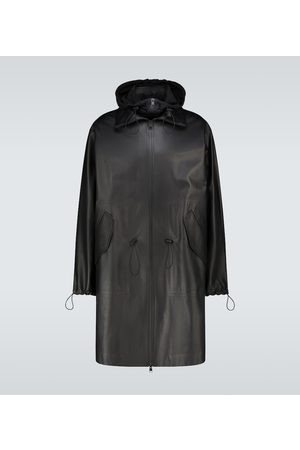 Bottega Veneta Long leather hooded coat
