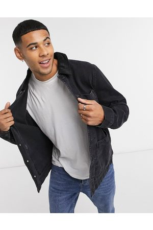 New Look Denim jacket in black with cord collar