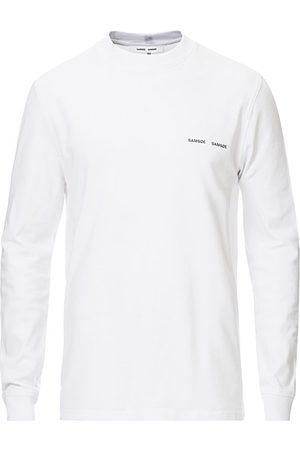 Samsøe Samsøe Miehet T-paidat - Norsbro Long Sleeve Organic Cotton Tee White