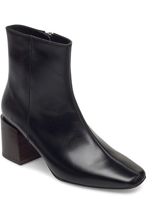 Flattered Naiset Nilkkurit - Ida Black Leather Shoes Boots Ankle Boots Ankle Boot - Heel