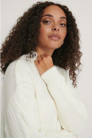 NA-KD Naiset Neulepaidat - Oversize Kaapelineulepusero - White