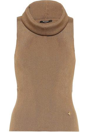 Balmain Knit turtleneck tank top