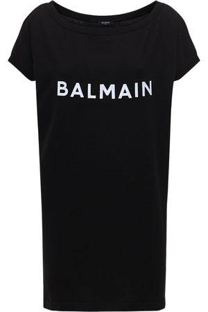 Balmain Logo Cotton Knit Short Dress