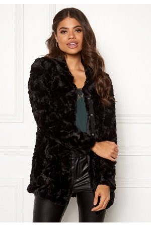 Vero Moda Curl High Neck Faux Fur Black M