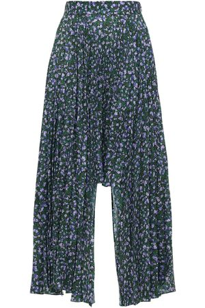 Rokh Asymmetrical Pleated Floral Print Skirt