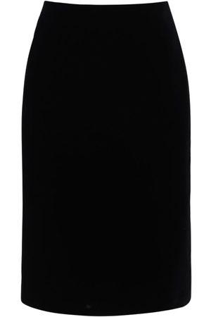 Saint Laurent Velvet Pencil Midi Skirt