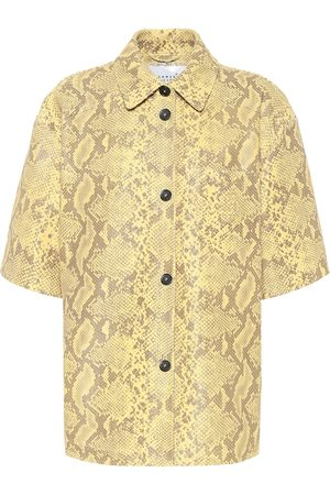Common Leisure Snake-effect leather shirt